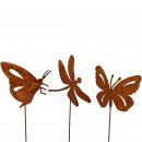 Metall Stecker Schmetterling & Libelle, 3 Motive,